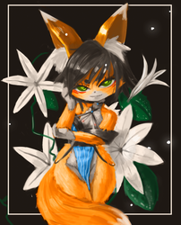 Foxes and flowers by lFall