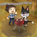 Grilling some peaches with Punchy by valissea