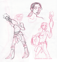 Chell Sketches by Girl-on-the-Moon
