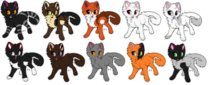 Free Adoptables batch 104 (Closed) by Kitty-of-Doom524