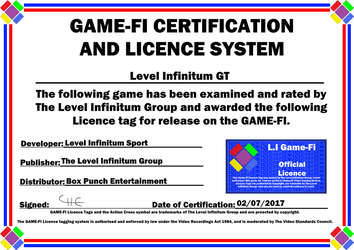 Level Infinitum GT Game-Fi Phase Two Certificate by LevelInfinitum