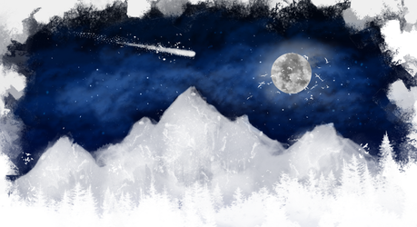 A shooting star on a winter night by AlwaysScared
