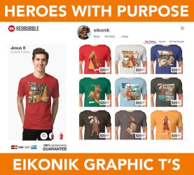 Bible Super Heroes Graphic T's by eikonik