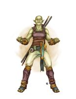 Half-Orc Monk by butterfrog
