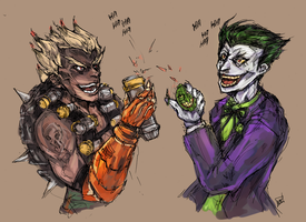 Junkrat and Joker by bulletproofturtleman