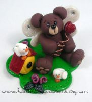 Winged Teddy With Friends by HeartshapedCreations