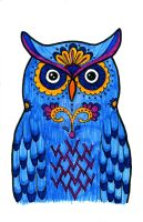 Candy Owl Marker Illustration by ChelseaFerranti