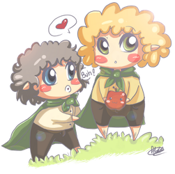 Chibi Merry and Pippin by PinkiePaillasson