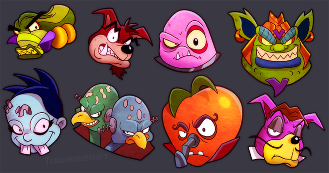 Crash Bandicoot - The Boss Icons You Missed by Turquoisephoenix