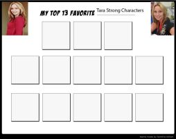 My Top 13 Favorite Tara Strong Characters - blank by Toongirl18