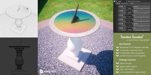 Garden Sundial (free 3D model blend + obj) by pnn32
