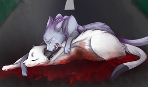 Bluestar and snowfur's death by Pinkateatime
