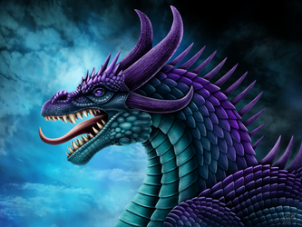 Purple and Teal Dragon Portrait by DragonosX