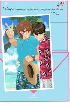 Duo and Heero on Oahu by kracken