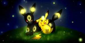 Pikachu and Umbreon: Fireflies by Smudgeandfrank