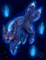 Blue Flame two tailed Fox by Ash-Dragon-wolf
