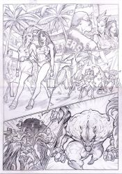 X-MEN STORM teams-up SPIDER-WOMAN vs. RHINO page 1 by PabloAlcaldeFdez
