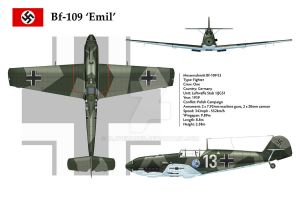 Bf-109E3 JG51 3-View 1 by WS-Clave