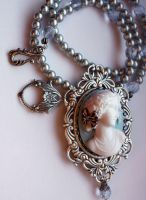 Headstone angel blue necklace by Pinkabsinthe