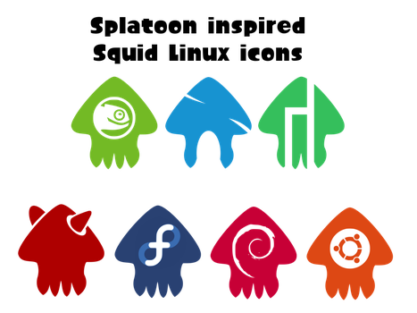 Splatoon inspired squid Linux icons by maxlefou