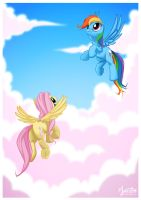Rainbow and Fluttershy in the Sky by mysticalpha