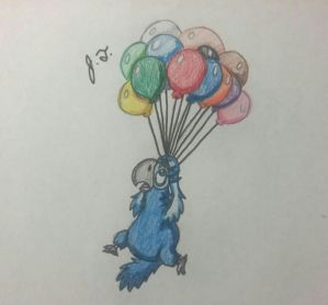 Flying with Balloons by joshbluemacaw