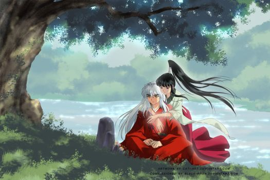 Commission - Inuyasha and OC Arai Keiko by Cati-Art