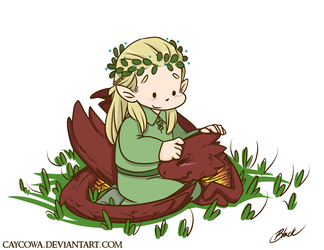 Commission - Legolas and chibi Smaug by caycowa
