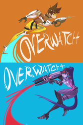 Overwatch-Tracer and Widowmaker by E-Magnus