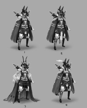 Egyptian/Asian Character Design - Iterations by jeffchendesigns