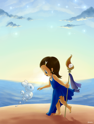 Little Ocean Mage by aquabluu
