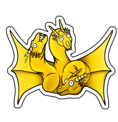 Cute Godzilla Stickers - King Ghidorah by XiliansFan