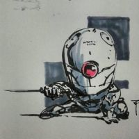 Doodles 032 -  chibi MGS Grey Fox by artofTZU