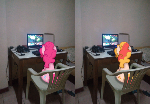 Pinkie pie and Pizza Pie watching on my laptop by Hikarisah
