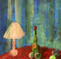Lamp, Bottle, Balls and Glass by CheBertrand