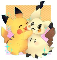 Mimkyu and Pikachu by Bubber-chuuu