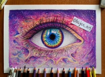 Galaxy eye drawing by Bajan-Art
