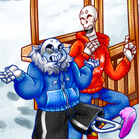 Sans And Papyrus  by evillovebunny500