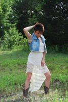 White Lace and Cowboy Boots by AO-Photography