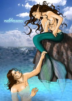The mermaid and The Sea by Neldorwen