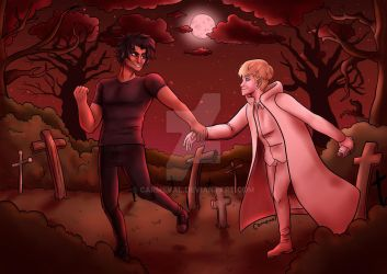 Devilman Crybaby in the graveyard by Carmeval