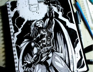 the mighty Thor ink by ralpestein