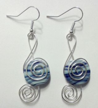 clefs with blue pearls and silver wire earrings by syn-O-nyms