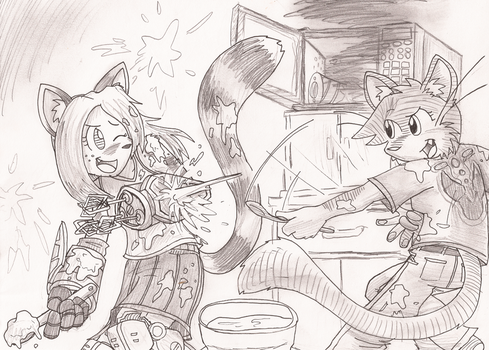 Drille and Lucheek make a cake by GotthePoint