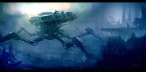mech sketch rain version by zakforeman