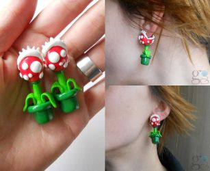 Piranha Plant Earrings by ALINAFMdotRO