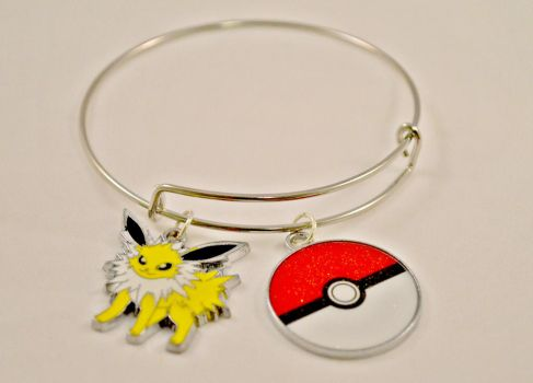 Jolteon Pokemon Bangle Bracelet by AshsMysticEmporium