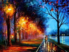 Alley By The Lake 2 by Leonid Afremov by Leonidafremov