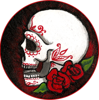 Skull with roses by Myrcury-Art