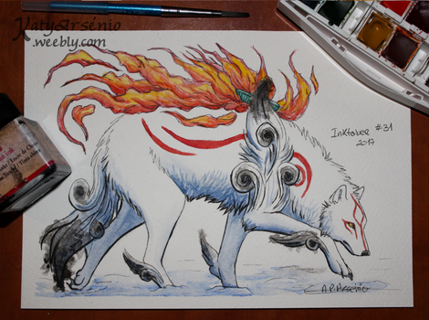 Inktober 2017 - Day 31 - Amaterasu (+Video) by Katy500